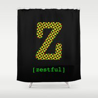 jay z Shower Curtains featuring #Z [zestful] by bravo la fourmi