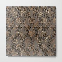 Mauve brown black faux gold floral leaves Metal Print