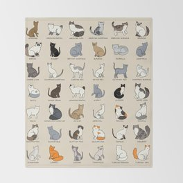 Cat Breeds Throw Blanket