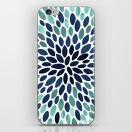 Flower Bloom, Aqua and Navy iPhone Skin