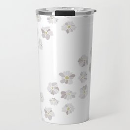 Diagonal flowers seamless repeating pattern small version, gray Travel Mug