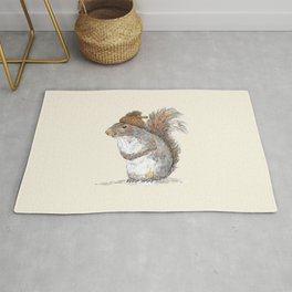 Squirrel with an Acorn Hat Rug