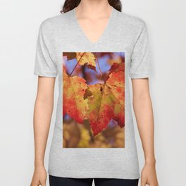 Autumn in Canada - Maple leafs Unisex V-Neck