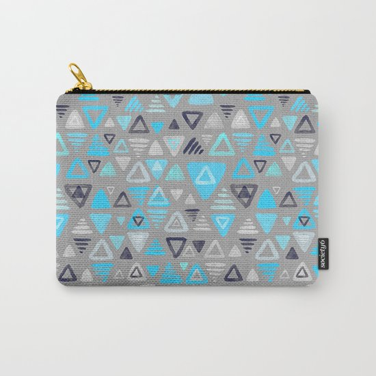 Summer Turquoise Triangles on Grey Carry-All Pouch