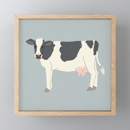 Cute Black White Cow Framed Mini Art Print