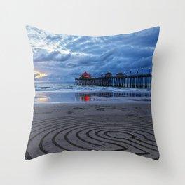 Huntington Beach Sand Circles ~  2/2/14 Throw Pillow