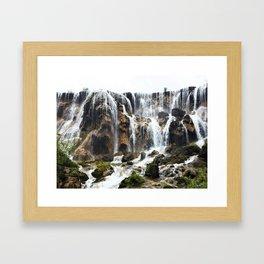 Pearl Shoal Waterwall // Jiuzhaigou Valley Framed Art Print