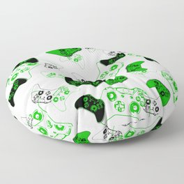 Video Game White and Green Floor Pillow