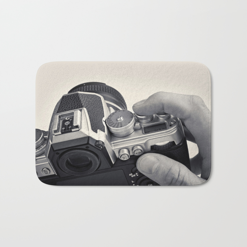 Retro Slr Camera In Hands Photographer Bath Mat by Ryzhov BMT8791120
