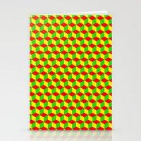 rasta Stationery Cards featuring Cubed - Rasta by Matt Cutaia