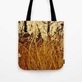 Snow covered pond reeds Tote Bag