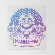 Mamma Mia Super Mario is-a Crazy Throw Blanket