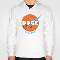 nasa Hoodies featuring Doge Nasa Variant (To The Moon!) by Tabner's