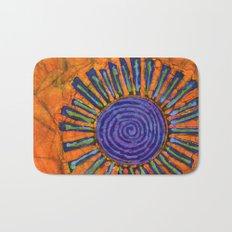 Orange and purple Floral batik Bath Mat