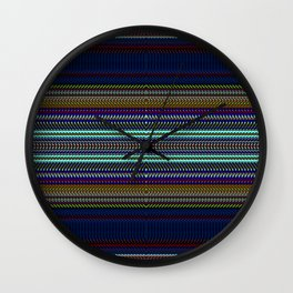 Blue & Gold Rag Weave by Chris Sparks Wall Clock