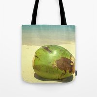 coconut wishes Tote Bags featuring Coconut by Michael S.