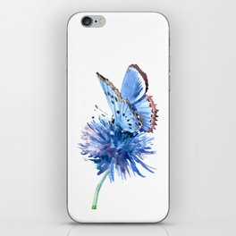 Blue Butterfly and Blue Flower, marine blue minimalist floral butterfly design iPhone Skin