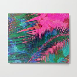 Palm leaves for Frida - Bright pink, blue & green #buyart #decor Metal Print