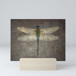 Dragonfly On Distressed Metallic Grey Background Mini Art Print