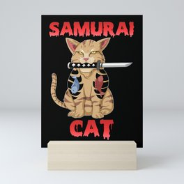 samurai cat Mini Art Print