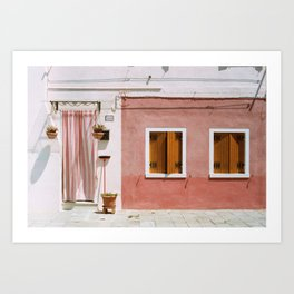 Sunny pink house Art Print
