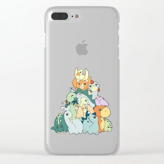 Cute Dino Pattern Clear iPhone Case