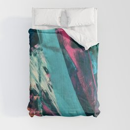 Wild [7]: a bold, colorful abstract mixed-media piece in teal, orange, neon blue, pink and white Comforters