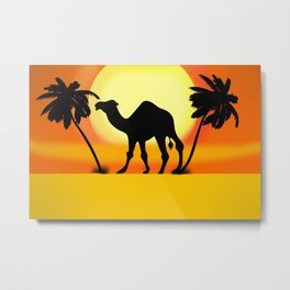 Desert sunset view with camel and palm trees Metal Print