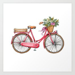 Cute watercolor vintage bike print. Art Print