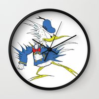 donald duck Wall Clocks featuring Donald LASORBIRD by Futurlasornow