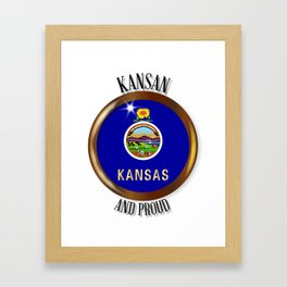 Kansas Proud Flag Button Framed Art Print