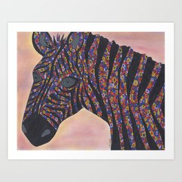 Zebra Gone Wild Art Print