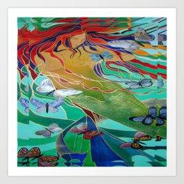 Mermaid and Butterflies Art Print