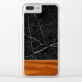 Marble and Wood Clear iPhone Case