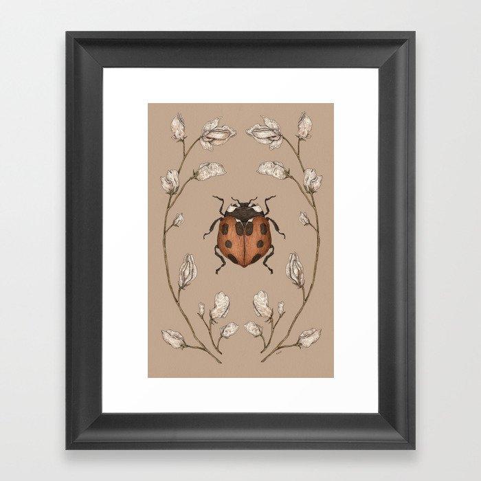 The Ladybug and Sweet Pea Gerahmter Kunstdruck