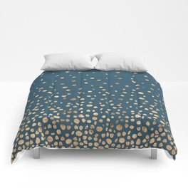 Chic Gold and Teal Rising Confetti Comforters