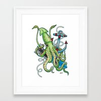 squid Framed Art Prints featuring Squid by Amanda Marie Bell