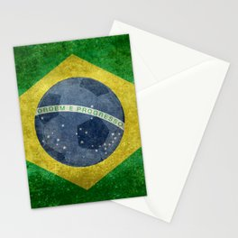 Flag of Brazil with football (soccer ball) retro style Stationery Cards
