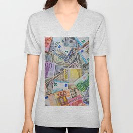 money texture. Euro and Dollars Unisex V-Neck