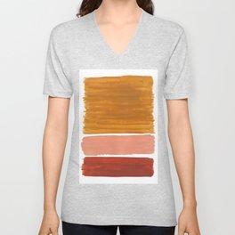 Rothko Minimalist Colorield Warm Earth Tone Yellow Ochre Clay Beige by Ejaaz Haniff Unisex V-Neck