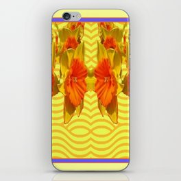 Golden Daffodils Pattern iPhone Skin