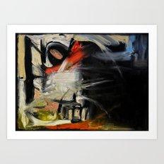Night Window (oil on canvas) Art Print