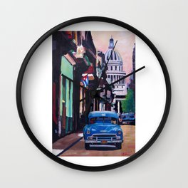 Cuban Oldtimer Street Scene in Havanna Cuba with Buena Vista Feeling Wall Clock