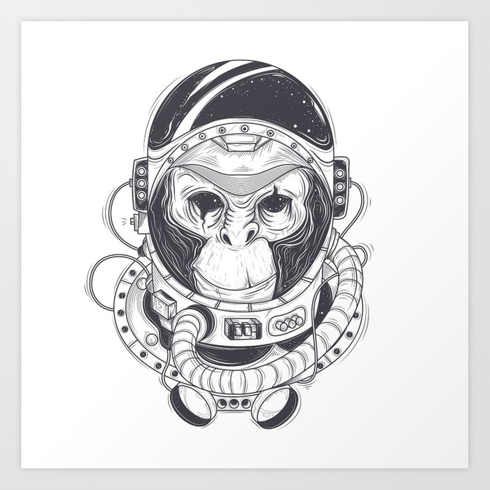 Vector hand drawn illustration of a monkey astronaut, chimpanzee in a space  suit Art Print by igorg