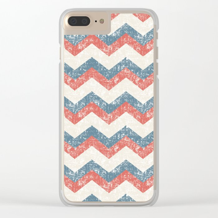Maritime Navy Chevron ZigZag in Red White Blue Clear iPhone Case