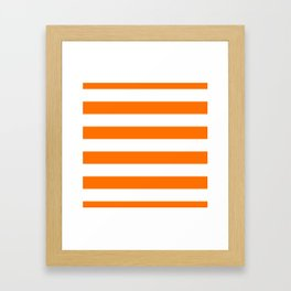 Bright Tumeric Orange and White Wide Horizontal Cabana Tent Stripe Framed Art Print
