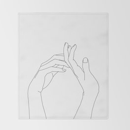 Hands line drawing illustration - Abi Throw Blanket