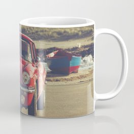Triumph Spitfire by the sea, with ship, fine art photo, british car, sports car, color, high definit Coffee Mug