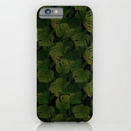 Monstera (Jungle) - Olive x Black iPhone Case
