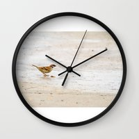 sparrow Wall Clocks featuring sparrow by Marcel Derweduwen